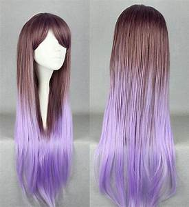 Long Brown and Purple Ombre Wig, Cosplay Wig, Anime Wig ...