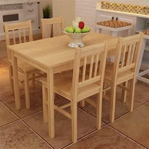 Table Avec 4 Chaises : acheter table manger avec 4 chaises en bois naturel pas cher ~ Teatrodelosmanantiales.com Idées de Décoration