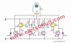 Scematic Diagram Panel  Simple Soldering Iron Inverter Circuit Using 2n3055