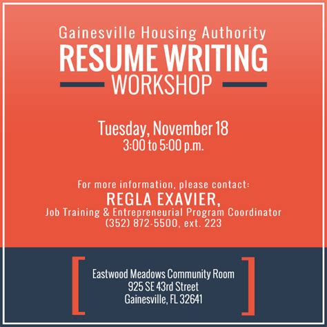 Resume Workshop by Resume Writing Workshop Gainesville Housing Authority