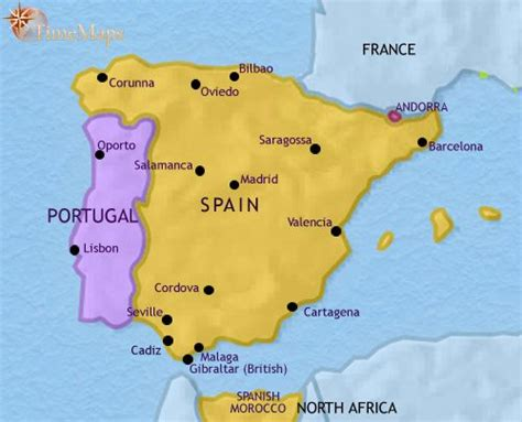 Carte Portugal Espagne by Spain And Portugal History 750 Ce