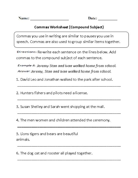 using commas worksheet worksheets for all and