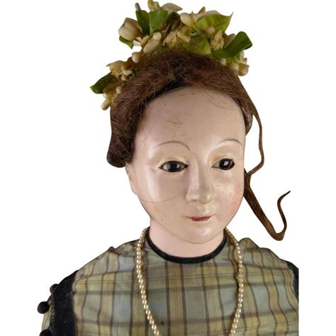 cm  original antique french paper mache lady