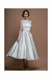 loulou bridal agatha satin 50s 60s tea calf length short With 60s wedding dress