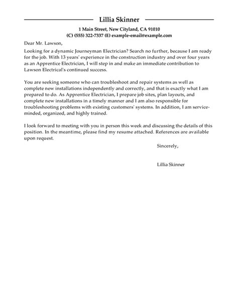 Apprentice Electrician Cover Letter Sle by Best Apprentice Electrician Cover Letter Exles Livecareer