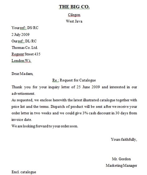 final episode inquiry letter  english business letter