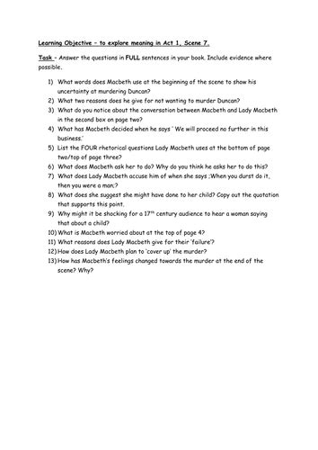 macbeth comprehension worksheet act  scene  teaching