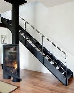 Décoration D Escalier Intérieur : dt38 esca 39 droit escalier droit m tallique d 39 int rieur design pour une d coration de style ~ Nature-et-papiers.com Idées de Décoration