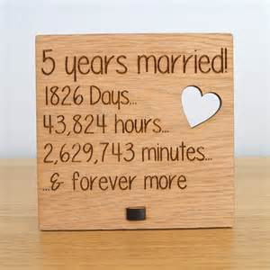5th wedding anniversary ideas wooden wedding anniversary plaque sign days hours minutes and forever more pretty personalised
