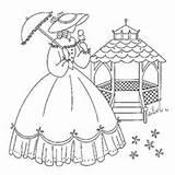 Embroidery Patterns Southern Belle Lady Crinoline Quilt Pattern Parasol Sunbonnet Flickr Bonnet Madureira Maria Via sketch template