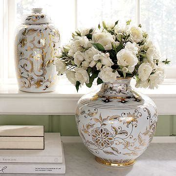 williams sonoma home gold white ginger jars