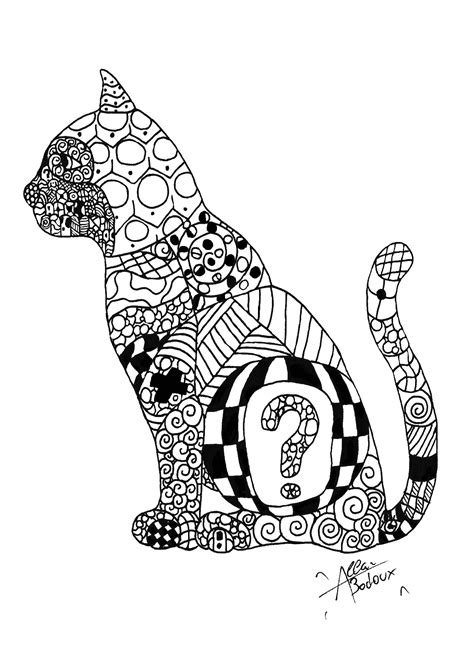 zentangle cat zentangle adult coloring pages