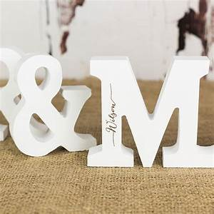 personalised mr and mrs letters in white rocket and fox With small white wooden letters