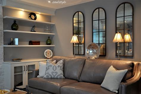 gray leather sofa Family Room Contemporary with charcoal