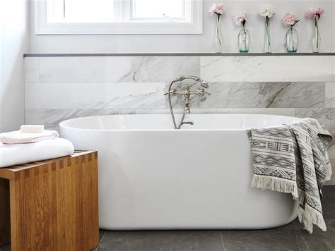 ledge  bathtub transitional bathroom