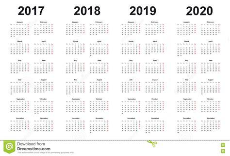Calendar 2017, 2018, 2019, 2020, Simple Design, Sundays
