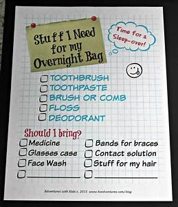Sleepover Ideas What Kids Need To Pack Printable List