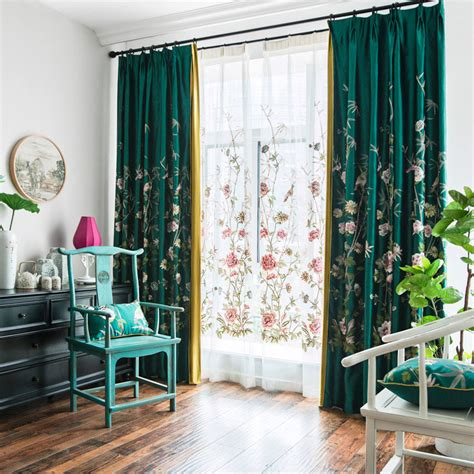 emerald green curtains emerald green floral silk beautiful embroidered curtains
