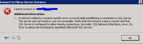 database sql server mirroring connection issue stack