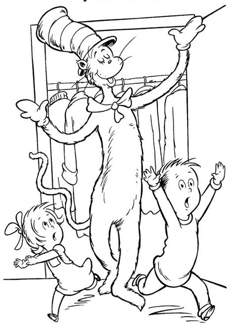 printable cat   hat coloring pages  kids
