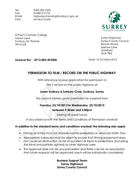 surrey county council letter  permission  film