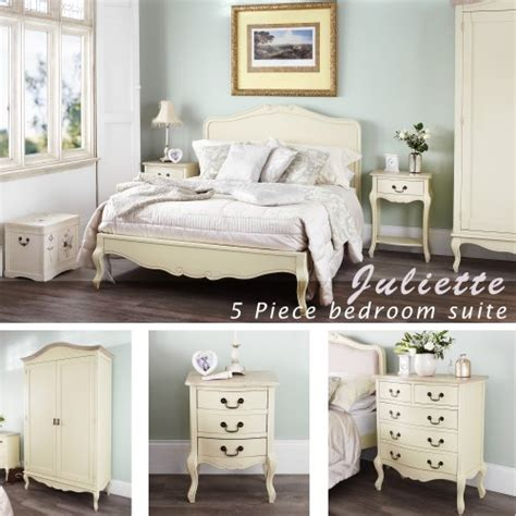 shabby chic bedroom suite juliette shabby chic chagne double bed 5pc bedroom suite cream double bed bedside table