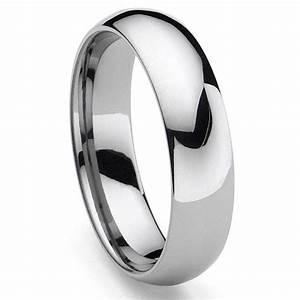 CLASSICAL Tungsten Carbide Men39s Plain Dome Wedding Band