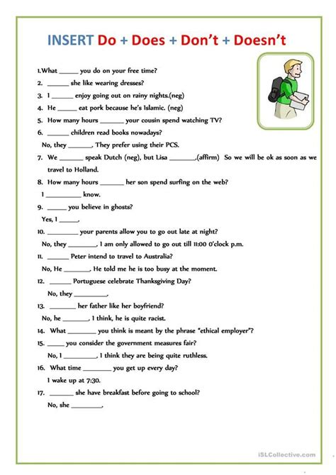 Do does? | English worksheets for kids, English grammar ...