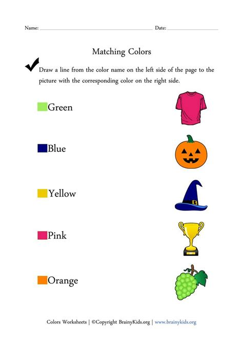 colors worksheets matching colors with pictures early