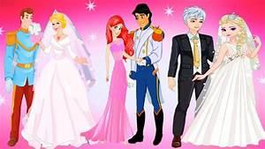 Disney princesses elsa ariel and cinderella wedding day for Disney princess wedding dress up games