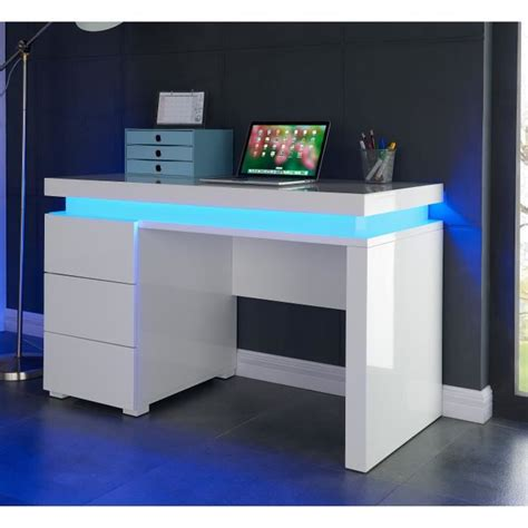flash bureau contemporain blanc brillant l 120 cm