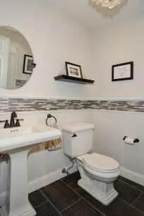 contemporary powder room with specialty tile floors - Pedestal Sink Bathroom Design Ideas