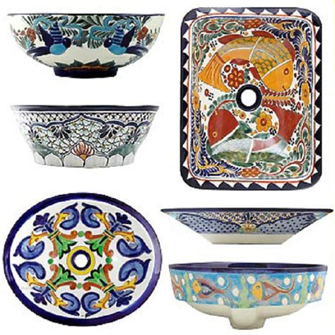 mexican hand painted sinks rectangular talavera vessel sink mexican
