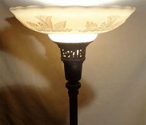 HomeOfficeDecoration Antique Torchiere Floor Lamp Glass