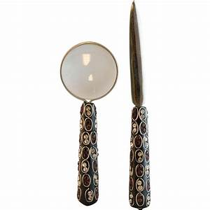 vintage rhinestone letter opener and magnifying glass With glass letter opener