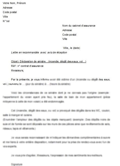 mod 232 le de lettre d 233 claration de sinistre la lettre mod 232 le