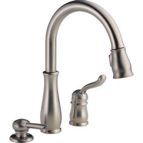 kitchen faucet with soap dispenser delta leland single handle pull sprayer kitchen