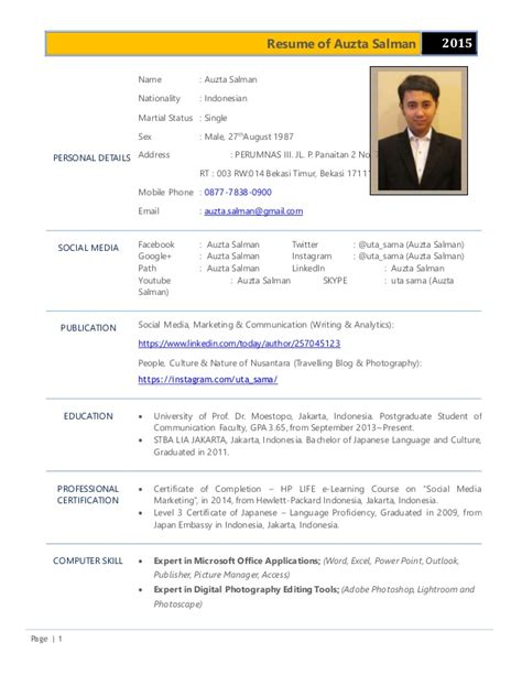 Updating My Resume 2015 by Resume Of Auzta Salman Update 20 September 2015