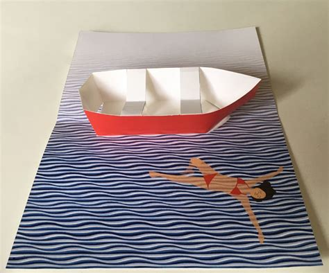 row boat pop  card printable template