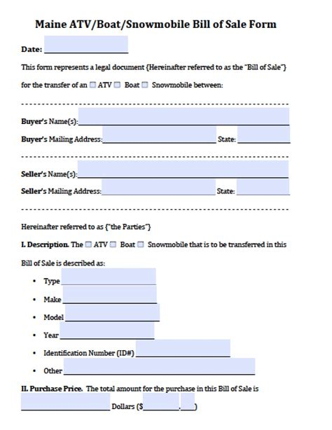 Boat Bill Of Sale Maine by Free Maine Atv Boat Snowmobile Bill Of Sale Form Pdf