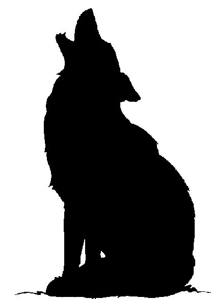coyote clipart black and white howling coyote silhouette clipart best
