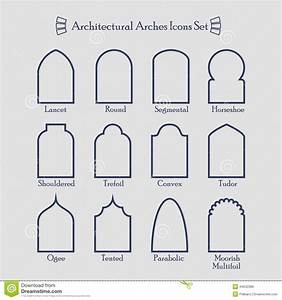 Set Of Thin Outline Common Types Of Architectural Arches ...