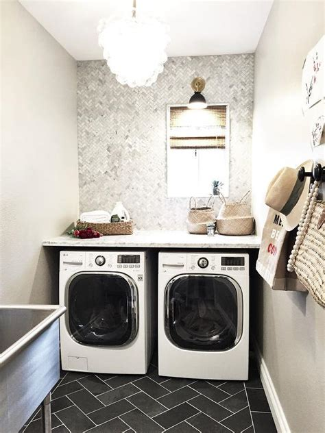 laundry room  black slate floor transitional