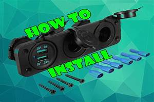 Install - Car 2 Usb Port  2 Cigarette Socket Lighter Adapter