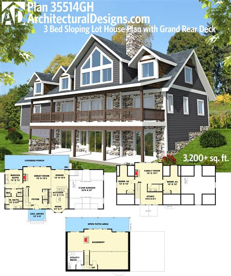 plan gh  bed sloping lot house plan  grand rear deck kid house plans  love