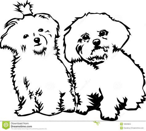Hondenhoofd Kleurplaat by Twee Leuke Kleine Honden Stock Illustratie Illustratie
