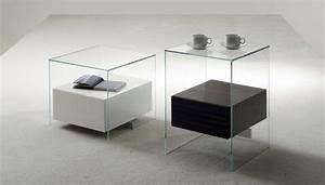 Table Chevet Design : table de chevet design en verre design en image ~ Teatrodelosmanantiales.com Idées de Décoration