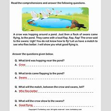 Reading Comprehension Crow Worksheet  Turtle Diary