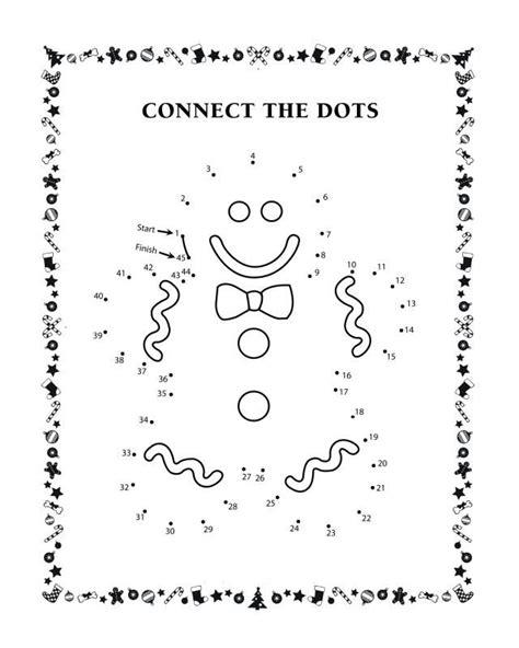 connect  dots activity sheets gingerbread man