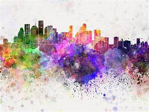 Houston Skyline In Watercolor Background Painting by Pablo
